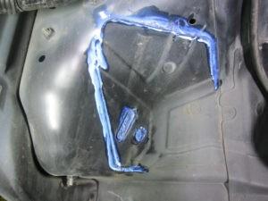 錆びた箇所に転換剤を塗布